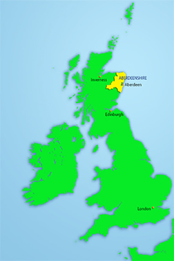 Aberdeenshire on the map